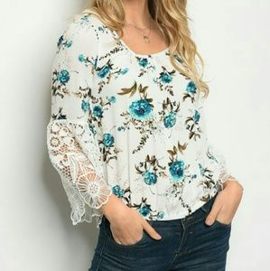 Tops - 🎆Arrived🎆  White/Teal Floral Top